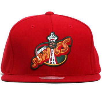 Seattle Supersonics Wool Solid Snapback Hat Red