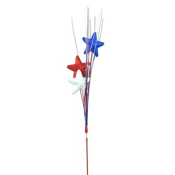 "18"" Red White and Blue Glitter Star Patriotic Party Pick Decoration"