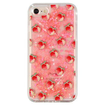 Peach Clear Glitter iPhone Case