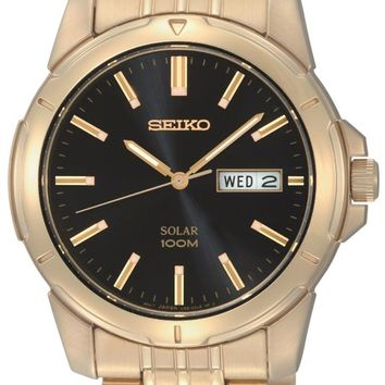 Seiko SNE100 Men's Gold Tone Black Dial Solar Powered Watch