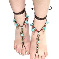 Barefoot Sandals Turquoise Coral Silver Or Gold Conchos Feathers Beach Feet Jewelry Brown Braided Anklet Toe Ring
