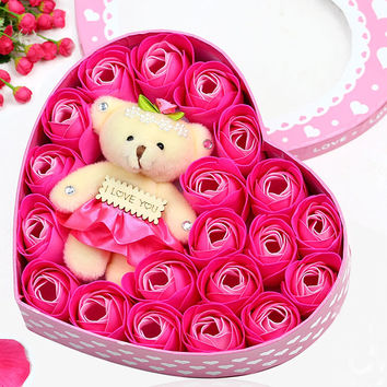 Soap Flower Bear Heart-Shaped Box Birthday Gifts