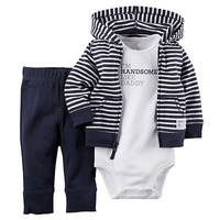 2016 HOT Autumn 3 PCS Casual Newborn 6 9 12 18 Months striped long sleeve Cardigan Pant Set Baby Boy Clothes Outfit NAVY