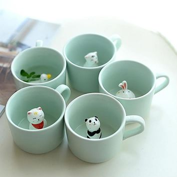 1Pcs Creative Animals Ceramic Coffee Cup Cute Cartoon 3D Mug