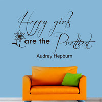 Wall Decals Audrey Hepburn Quote Decal Woman Beauty Happy girls are the prettiest Sayings Sticker Vinyl Decals Wall Decor Murals Z279