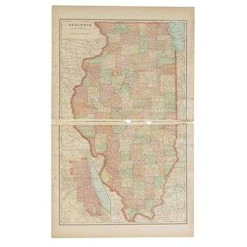 Cram's 1907 Map of Illinois