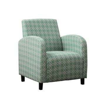 """Faded Green """" Angled Kaleidoscope """" Fabric Accent Chair"""