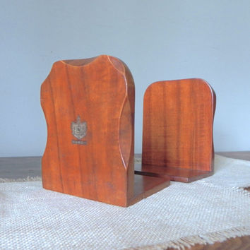 Vintage Hawaii Hawaiian wood wooden book ends - elegant tourist gold shield