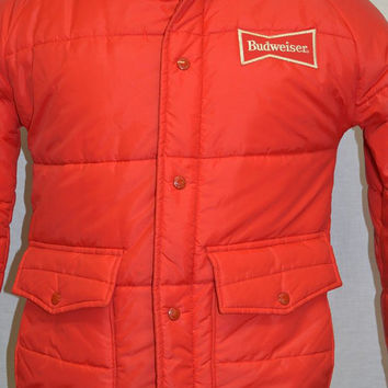 Vintage BUDWEISER BEER Puffy 80's Nylon Jacket Coat Bud