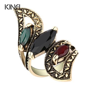 Fashion 2016 Vintage Big Ring Antique Gold Color Mosaic Colorful Resin Rings For Women Size 6 7 8 9 10 11 Turkish Jewelry