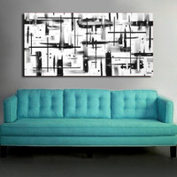 Original abstract painting on canvas. 24x48. Canvas art. Black and white painting. Modern painting. Large painting.