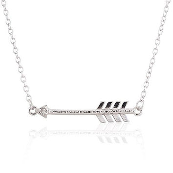 """Sterling Silver Rhodium Plated Diamond Accent Sideways Arrow Pendant Necklace, 18"""""""