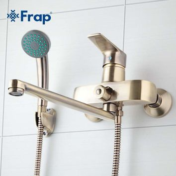Frap Bronze color Wall Mounted Brass Bathroom Faucet Bath Tub Mixer  With Hand Shower Head Shower Taps F2230-4
