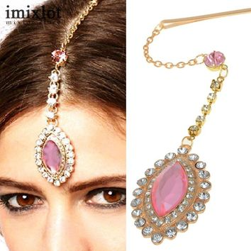 Imixlot Teardrop Pink Crystal Pendant Hairpin Bindi Hair Clip Chain Tikka Indian Head Piece Dancer Party Jewelry Accessories