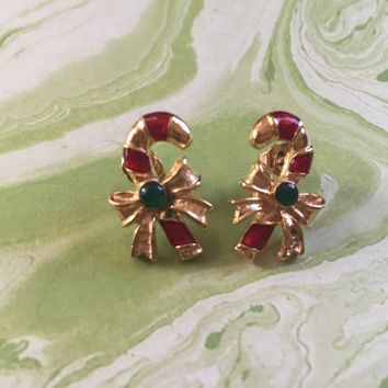 Gold Toned Metal with Red Enamel and Green Candy Cane Earrings - Vintage Christmas Earrings - Pierced Earrings with Gold Bow - Holiday Avon