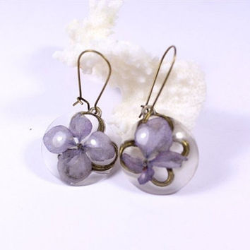Statement Earrings With Real Flowers, Rustic Round, Hook Dangle Earring, Natural Hydrangea Lilac Flowers. Gift For Her. Mother's Day  сп5