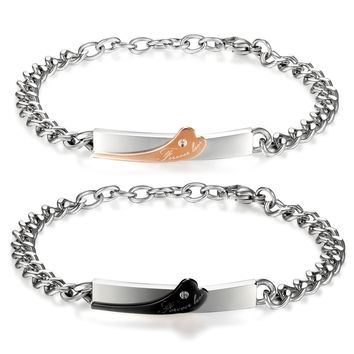 "BONISKISS ""forever Love"" Heart Shape Stainless Steel Couple Lover Wedding Matching Bracelet Black Rose Gold Color Engrave"