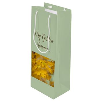 Yellow autumn maple leaves. Add you text or name. Wine Gift Bag