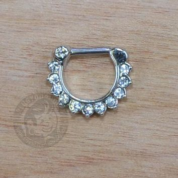 Clear Paved Gems Steel Septum Clicker