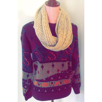 Vintage Slouchy Print Sweater
