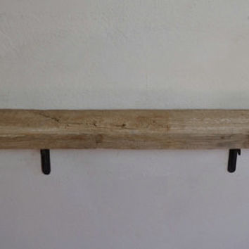 Reclaimed wood shelf 47x8 deep with knots and faded paint