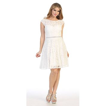 Cap Sleeved Off White A-Line Short Homecoming Dress