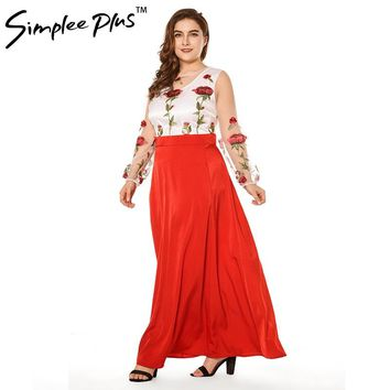 Simplee Plus Mesh Rose Flower Floral Embroidery Runway Maxi Women Bohemia Beach Perspective Lace Long Dress Plus Size
