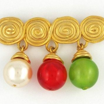 Party JEWELRY BROOCH PIN, Green red brooch for women, gift idea for woman, broach gift vintage, brooch pin women, gift brooch for mom