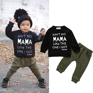 0-3Y Newborn Toddler Infant Kid Baby Boys Clothes Long Sleeve Mama Sweatshirt Top +Pants 2pcs Outfits Kids Clothing Set