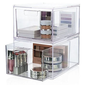 2-Pack Premium Quality Stackable Cosmetic Storage and Makeup Palette Organizer Drawers | Audrey Collection