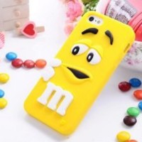 FiveBox Lovely Cartoon Mouth-open M & M's Chocolate Candies Style Fragrant Soft Silicone Case Cover Compatible for Iphone 5 5g 5s (yellow)