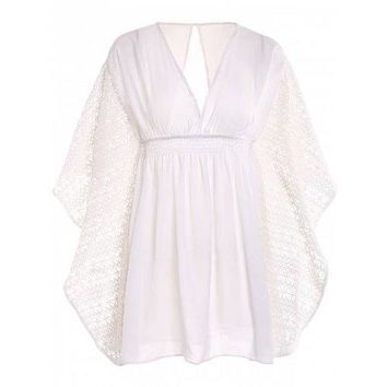 Plunge Batwing Flowy Tunic Beach Cover Up - White One Size(fit Size Xs To M)