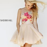 Sherri Hill 21198 - Nude/Multi Lace Short Prom Dresses Online