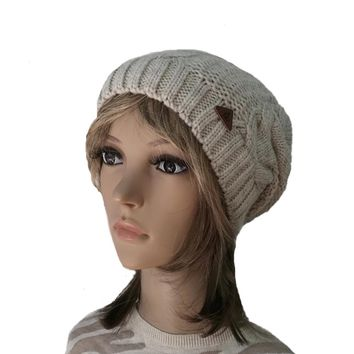 Knitted Slouchy Beanie for Women - Winter Women's Hat - Cable Pattern