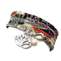 Japanese Wrap Bracelet with Lotus Flower by charmeddesign1012
