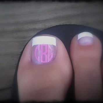 12 Small Circle Toe nail Monogram decals
