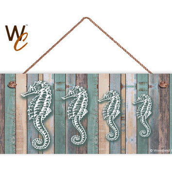 "Seahorse Family Sign, Beach Weathered Wood, Weatherproof, 6""x14"", Rustic Signs, Housewarming Gift, Under The Sea Sign, Made to Order"