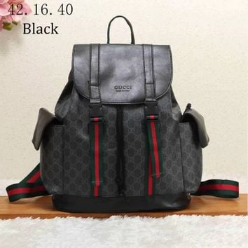 GUCCI 2018 new classic GG pattern large men's backpack/ F-KSPJ-BBDL black