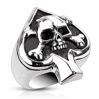 Ace of Spades – Ace of spades skull and crossbones black oxidized stainless steel men's ring