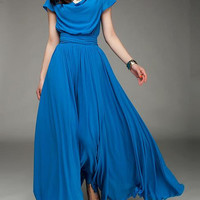 Blue Long  Dress Fit  Chiffon  Dress OL STYLE -LYQ00202