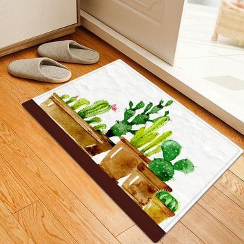 Cactus Plant Pattern Water Absorption Area Rug