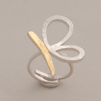 Butterfly ring, silver topically gold plated ring, adjustable, gift under 50 usd,  nature inspired jewelry, D3557