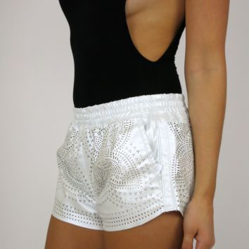 BlankNYC Make it Snow Vegan Leather Shorts