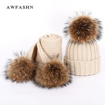 2018 New Fashion Luxury Brand Children's Knit Beanie Hat Scarf 2 Pieces Set Raccoon Fur pom poms Soft Cap Scarves Kids Baby Girl