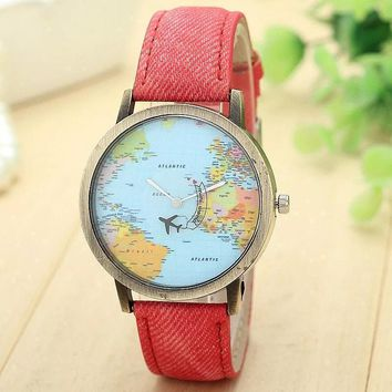 New Global Travel By Plane Map Wrist Watch Fabric Band | Red Color
