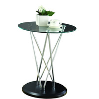 Chrome Metal/Black Base Accent Table with Tempered Glass
