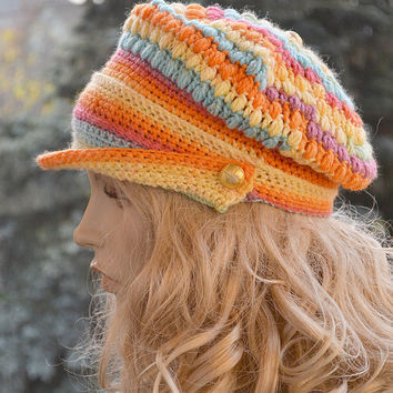 Crocheted  PEAKED CAP beanie Slouchy Winter Fashion , very warm, rainbow, women slouchy hat,Girls Hat,unique gifts