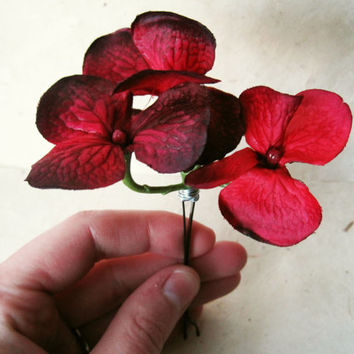 Red Hydrangea Flower Hair Pin. Burgundy Floral Bobby Pin. Fabric Flower Hair Accessory. Wire Wrapped Hair Clip in Deep Blood Red.