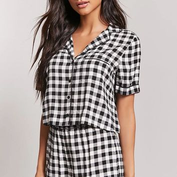 Gingham Pajama Top & Shorts Set