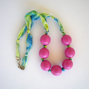 Summer necklace from silk fabric in blue green with pink wooden beads